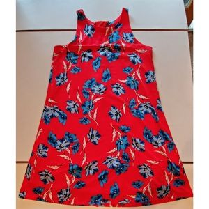 CeCe red sundress with blue flowers